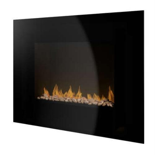Wall Mounted Electric Fire - Black Glass Front - PE170 Peddle Effect Fuel Bed
