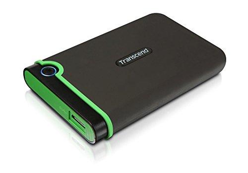 Transcend TS2TSJ25M3 StoreJet M3 externe Anti-Shock Festplatte 2TB (6,4cm (2,5 Zoll), 5400rpm, 8MB Cache, USB 3.0), 2 TB, grau/grün (Elite Externe Festplatte)