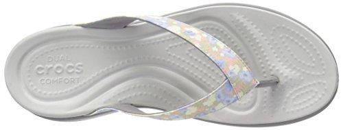Crocs Caprivflip, Chaussons Mules Femme Multicolore (Floral/Light Grey)