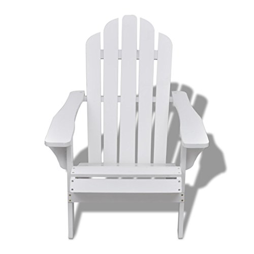 Anself Chaise de salon jardin en bois blanche chaise relaxation