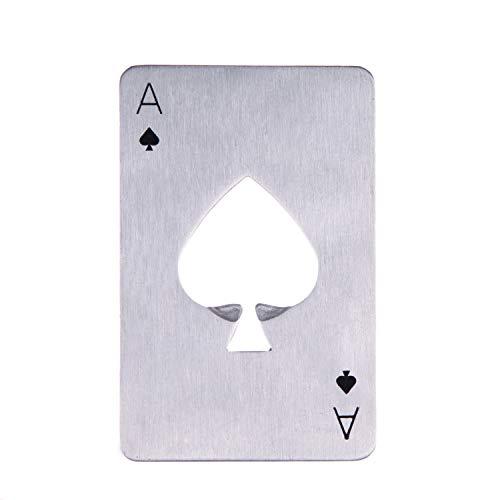 Flaschenöffner/Flaschenöffner aus Edelstahl, mit Pokerkarte, Schwarz/silberfarben silber