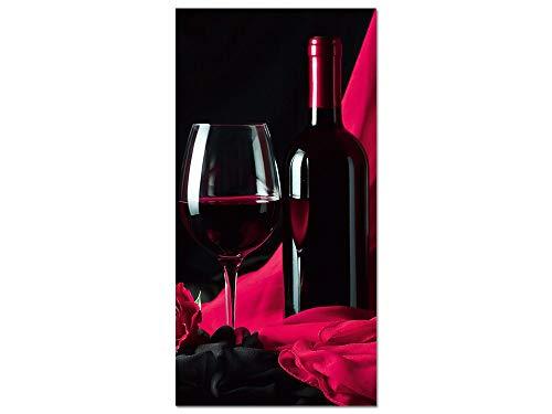 GRAZDesign Acrylglasbild Wandbilder Küche XXL Weinflasche - Küchenbilder Rot Schwarz - Bilder Küche Rotwein / 50x100cm / 100578_001_01_04