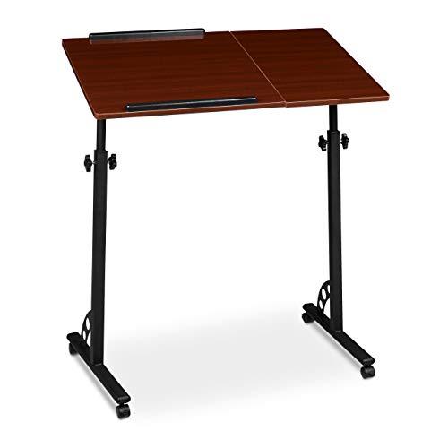 Relaxdays Laptoptisch groß höhenverstellbar H x B x T: 110 x 80 x 50 cm Mobiles Rednerpult mit Rollen zum Bremsen für Notebook mit Ablage für Beamer, große Laptops, Mäuse etc, Mahagoni (braun)