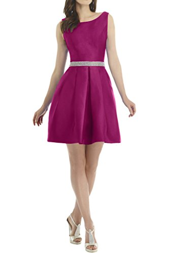 ivyd ressing Donna Semplice pietre elegante in Satin breve abito del partito Prom Dress Ball vestito Fest vestito abito da sera Fuchsie