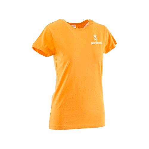 Browning Damen T-Shirt Buckmark Tangerine, Größe M - Buckmark Flagge