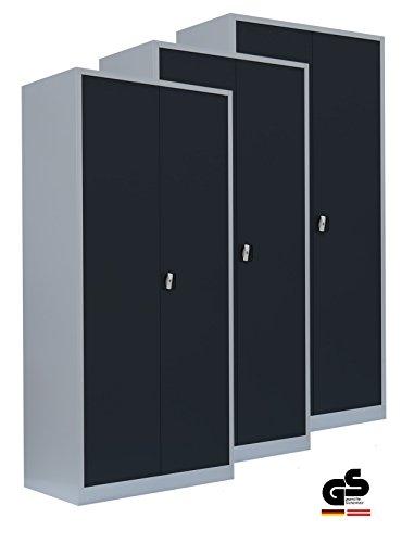 Werkstattschrank 3er-Set - Stahlschrank Werkzeugschrank Aktenschrank Büroschrank montiert...