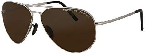 Porsche Design Aviator Sunglasses Silver with Brown Lenses P8508 M