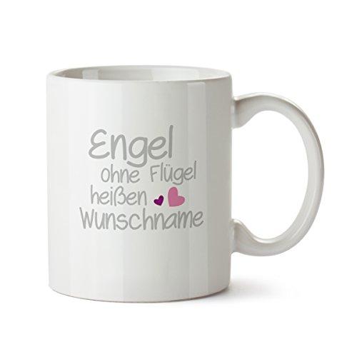 """Personalisierter Kaffeebecher weiß Motiv """"Engel ohne Flügel"""