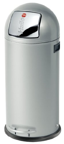 """Hailo KickMaxx XL, Mülleimer aus Stahlblech, 36 Liter, selbstschließende """"Push""""-Klappe, breite Fußreling, verzinkter Inneneimer, Tragegriffe, 0850-469"""
