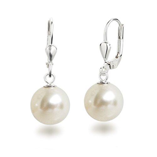 Schöner-SD Perlenohrringe Ohrhänger 925 Silber mit 10mm großen runden Perlen cremeweiß