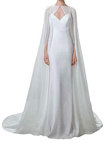 ShineGown Damen Umhang Fuer Frauen Weiss Lange Bridal Wraps Hochzeit Cape Chiffon Party Schals -