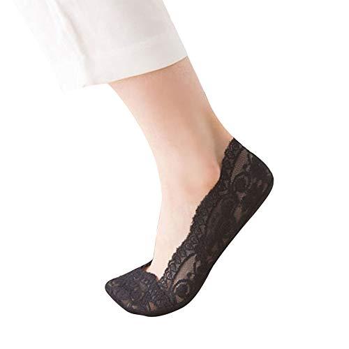Feetures Low Cut Sock (Cwemimifa Damen Füßlinge Th Women Sneaker, Fashion Womens Cotton Blend Lace rutschfeste Invisible Low Cut Socken Toe Ankle Sock, Schwarz)