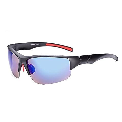 Hmilydyk pour homme Conduite Lunettes de soleil polarisées Mode Hot description Cadre en métal incassable Sports Eyewear Lunettes, Black Frame Blue Lens