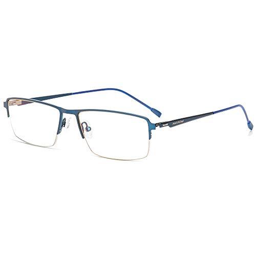 M&A Gafas Ordenador, Gafas Lectura Protección Anti Luz Azul y Fatiga - Marco de Aleación de Titanio Ultraligera con Lente de Nylon HD - 100% Protección UV/Radiacion, para TV, Gaming, PC