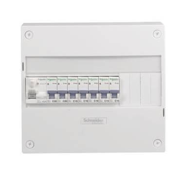 Schneider Electric SC5SHN03710024 1 Coffret pré-câblé rangée 1 inter différentiel + 7 Disjoncteurs Blanc