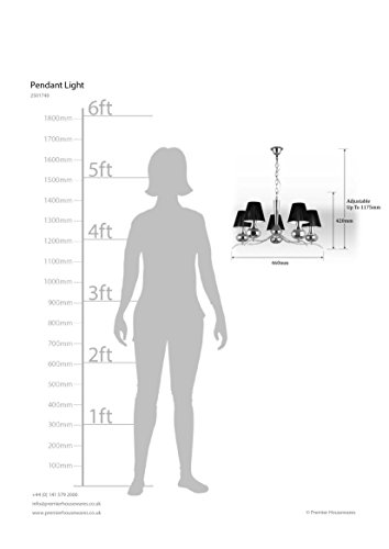 Premier Housewares, kleiner Edisonsockel E14, 5 Arme, Chrom, 60 W Pendelleuchte, Schwarz - 2