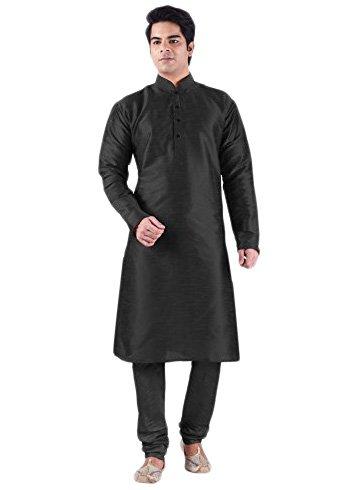 Ruchi Mart Traditionelle Schwarz indische Designer Ethnische Kurta Pajama Hochzeit tragen Indo West (Kurta Designer Herren)