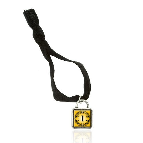 Elegant Letter I Initial Fancy Square Gold Black Bracelet Double Fold Over Stretchy Elastic No Crease Hair Tie With Sqr Charm