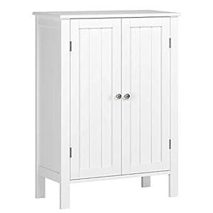 Homfa Badschrank Badezimmerschrank Badregal Küchenregal Kommode Schuhschrank Schrank Regal mit Doppeltür 2 Verstellbare Einlegeböden weiß
