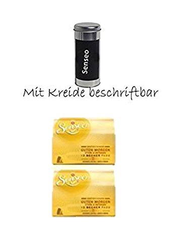 Kaffeepaddose Metall rund Höhe 18 cm Paddose Kaffeedose Dose + + 2 x Senseo Kaffeepads Guten Morgen...