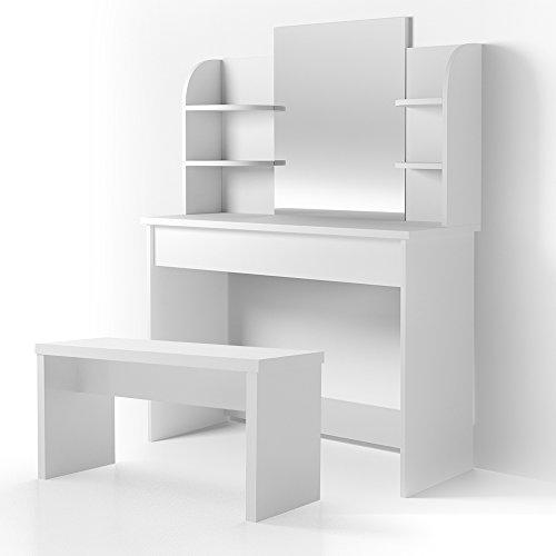 Vicco Schminktisch Charlotte 142 x 108 cm Weiß mit Bank - Frisiertisch Kommode Spiegel Bank +++ Schminkkommode mit Schubfach- und Regalsystem +++ (weiß)