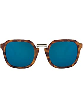 MR.BOHO, Leo tortoise bushwick with dark blue lenses - Gafas De Sol unisex multicolor (carey), talla única