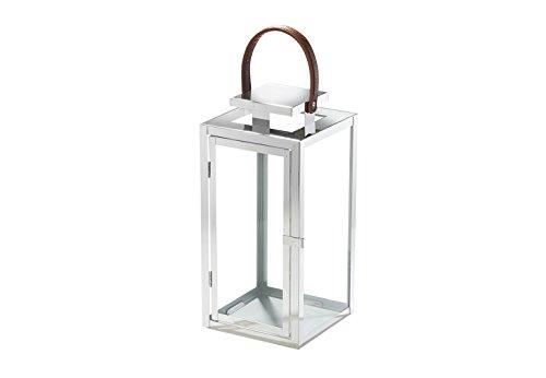 Kobolo Laterne Windlicht Lyon aus Glas und Edelstahl Kerzenhalter Edelstahllaterne groß