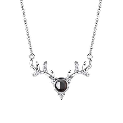 KEIBODETRD S925 Collar con Cabeza de Ciervo de Plata esterlina con proyección 100 Idiomas de Te Amo para Mujeres Niñas