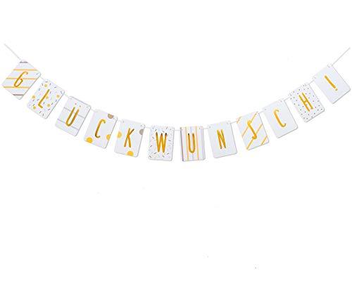 hen Glückwunsch Girlande - Wimpelkette - Geburtstagsdeko Girlande Kindergeburtstag - Garland Decorations - auf Deutsch ()