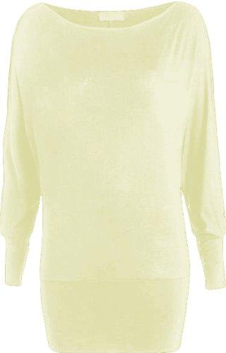 WearAll - Damen Einfach Unifarben Langarm Fledermausärmel Top - Crème - 46-48 (Damen : Kleidung Creme Pullover,)