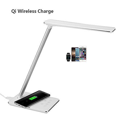 AGM - Lámpara de escritorio LED, lámpara de mesa plegable con base de cargador inalámbrico Qi, 3 modos de iluminación, 7 niveles de luminosidad regulable, control táctil, puerto USB, Blanc 1