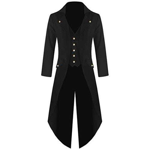 MIOIM Herren Frack Steampunk Gothic Jacke Vintage Viktorianischen Langer Mantel Kostüm Cosplay Kostüm Smoking Jacke Uniform Schwarz L