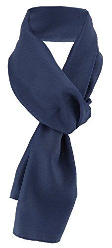 TigerTie Damen Chiffon Halstuch blau marine dunkelblau Uni Gr. 160 cm x 36 cm - Schal (Chiffon-schal Der Frauen)