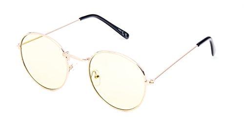 Sonnenbrille rund vintage gold silber 400UV getönt klar Metallgestell bunt 70er jahre unisex Damen Herren Brillen Klarglas Hippie Retro Vintage Trend leicht verspiegelte Sonnenbrillen (gelb grün)