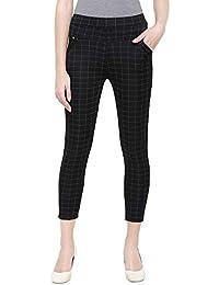 "LOOM LEGACY Women's Checks Jegging Pants/Trousers (Black Waist Size 26-30"")"