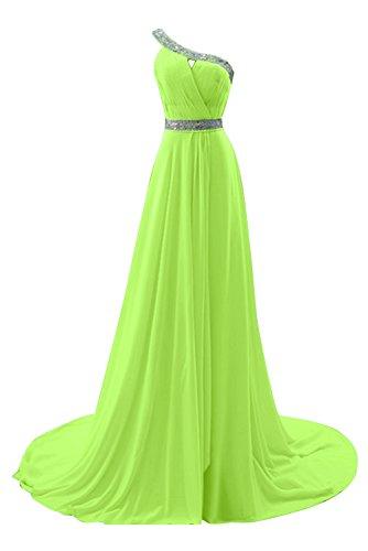 Gorgeous Bride Fashion Ein-Traeger A-Linie Chiffon Schleppe mit Paillette Abendkleider Ballkleider Festkleider Hellgruen