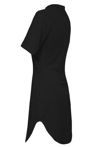 Frauen Abgerundetem Saum Hochgeschlossen Bodycon Minikleid Schwarz