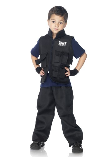LEG AVENUE C46111 - Swat Einsatzleiter Kinderkostüm Set, Größe M, schwarz