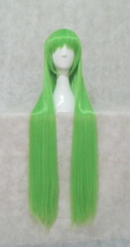 Japanese Anime Wigs @ Code Geass C.C. 100cm Green Long Straight + Wigs Cap + Anti-dust Plug Stopper