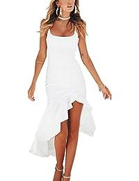 0025afed80d Angashion Damen Sexy Kleid Spaghettiträger Unregelmäßig Rüschen  Cocktailkleid Elegante Rückenfrei Partykleid Schlitz…