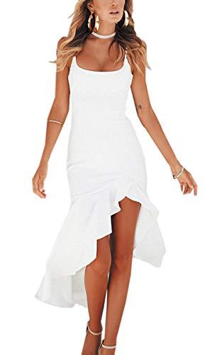 Angashion Damen Sexy Kleid Spaghettiträger Unregelmäßig Rüschen Cocktailkleid Elegante Rückenfrei Partykleid Schlitz Abendkleid Weiß M