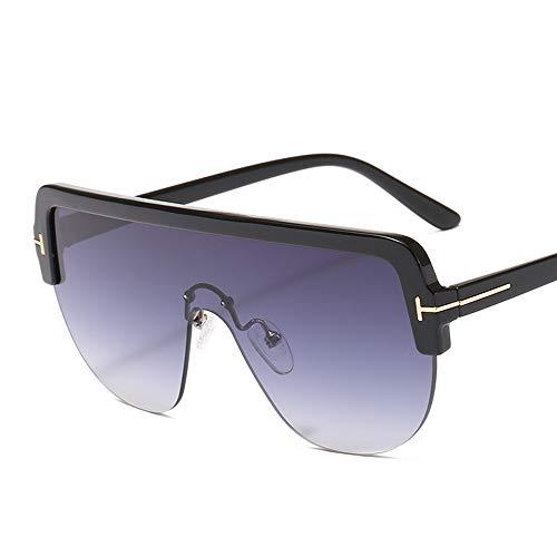 XIELH Sonnenbrille Übergroße Sonnenbrille Frauen Vintage Halbrand Flat Top Gradient Sonnenbrille Männer Weiblich One Piece Lens Eyewear UV400, Grau