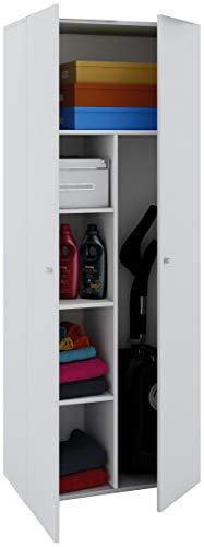 *VCM Schrank Universal Staubsauger Besenschrank Mehrzweckschrank Putzschrank Holz Weiß 178 x 70 x 40 cm*
