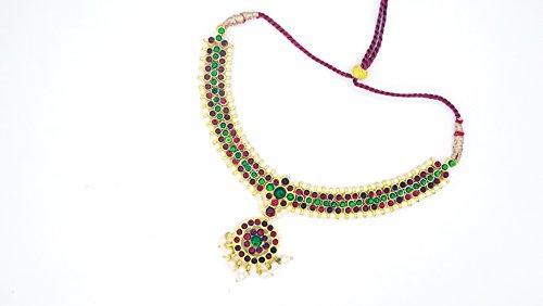 Margam Fashion Imitation Artificial Gold Polished Brass with Kemp & Pearls Bharatanatyam Dance Temple Jewelry Necklace Set-(IJ012904)  available at amazon for Rs.299