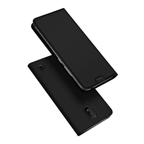 DUX DUCIS Hülle für Nokia 1 Plus, Leder Flip Handyhülle Schutzhülle Tasche Case mit [Kartenfach] [Standfunktion] [Magnetverschluss] für Nokia 1 Plus (Schwarz)