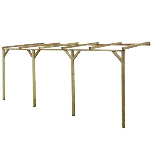 Festnight Terrassendach Terrassenüberdachung Pergola aus Holz für Wandanbau 2mx5mx2,2m