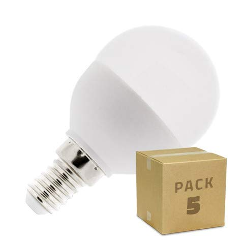 Pack 5 Bombillas LED E14 G45 5W (unidad a 0.99) Blanco Neutro 4000K-4500K efectoLED