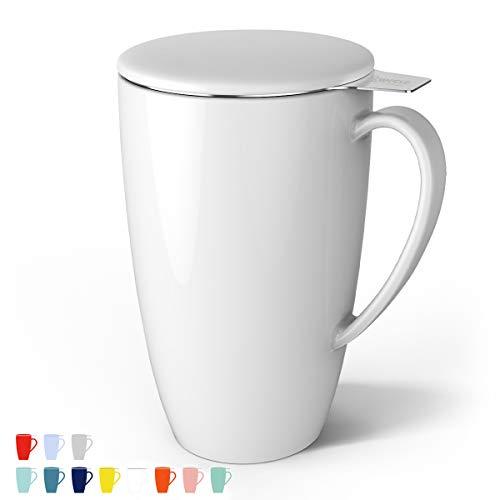 Sweese 201.101 Teetasse mit Deckel und Sieb, Becher aus Porzellan für Losen Tee Oder Beutel, Weiß, 400 ml