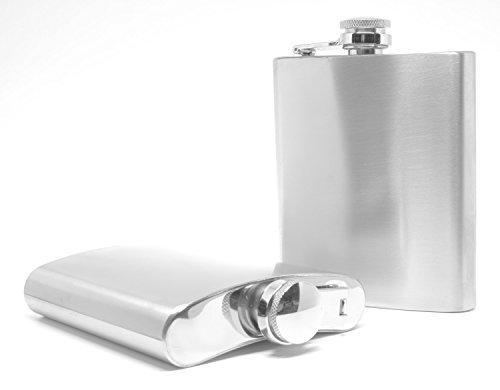 Edelstahl Flachmann von Trendario, Taschenflachmann in der Farbe Silber mit Schraubverschlussdeckel - Fassungsvermögen 200 ml ( 7oz ) als Geschenk zu Weihnachten oder zum Geburtstag