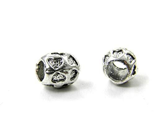 HanseCharms 2/5/10/20 Metall Beads mit Herzen, Tubes, Perle, Bead, Gr. ca. 9 x 9 mm Lochgr. 5 mm Nr. M4 (20 Stück)